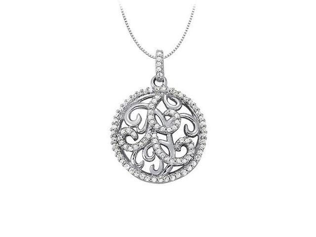 Diamond Circle Fancy Fashion Pendant in 14K White Gold 0.50 CT TDW with 14K White Gold Chain