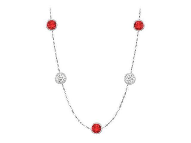 Diamonds By The Yard GF Bangkok Ruby and CZ Necklace on 14K White Gold Bezel Set 50.00 ct.tw