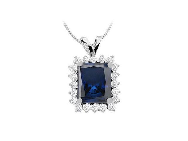 Diffuse Sapphire Emerald Cut and CZ Pendant with 9 Carat in 14K White Gold