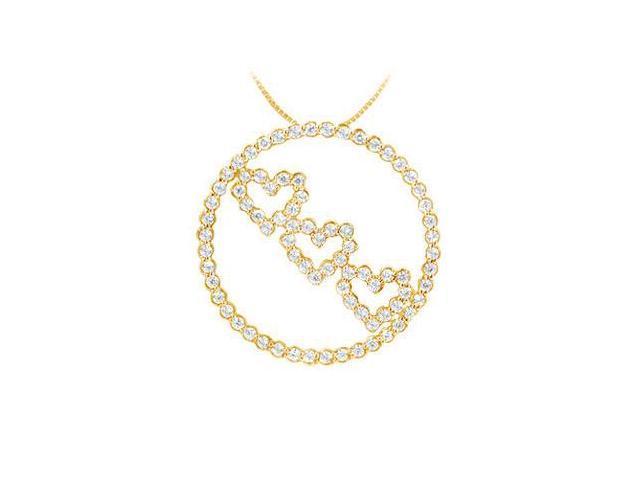 Diamond Circle and Heart Pendant  14K Yellow Gold - 1.25 CT Diamonds