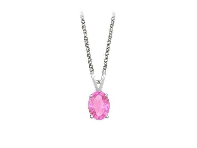 Oval Shaped Created Pink Sapphire Pendant Necklace in Sterling Silver. 1ct.tw.