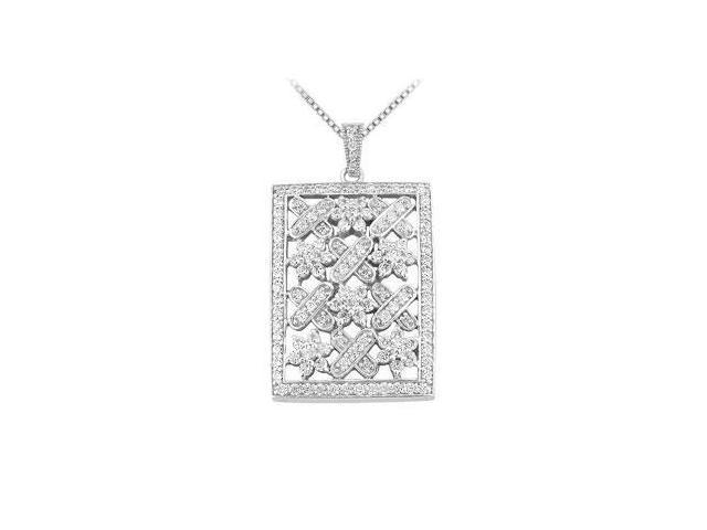 Diamond Pendant  14K White Gold - 1.50 CT Diamonds