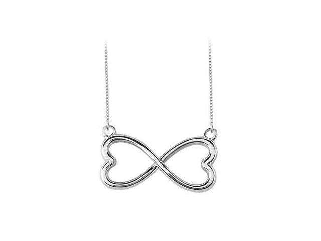 Heart Infinity Pendant Necklace in White Gold 14K
