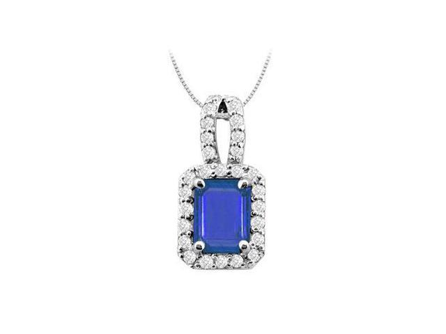 5 Carat Diffuse Sapphire Emerald Cut and Cubic Zirconia Pendant in White Gold 14K