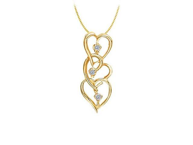 Three Hearts in Cubic Zirconia Heart Pendant in Sterling Silver with Gold Vermeil 0.05 CT TGW