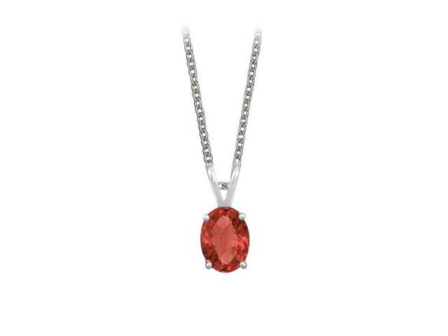 Oval Shaped Created Ruby Pendant Necklace in Sterling Silver. 1ct.tw.