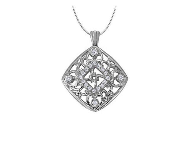 Cubic zirconia square shaped pendant in 14K White Gold 0.25 CT TGWJewelry Gift for Women