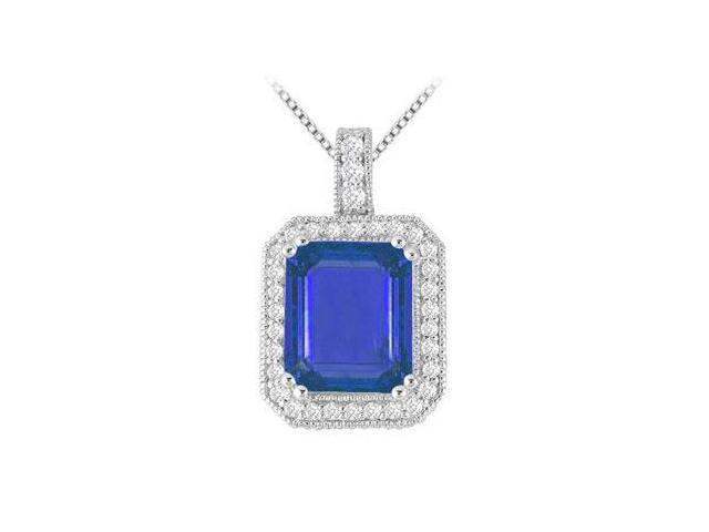 14K White Gold Pendant with Emerald Cut Diffuse Sapphire and Cubic Zirconia 9.35 Carat TGW