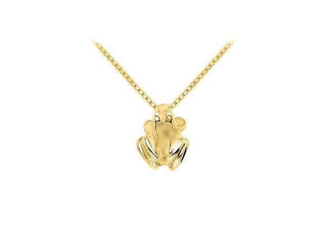 Frog Pendant Necklace in High Polished 14K Yellow Gold