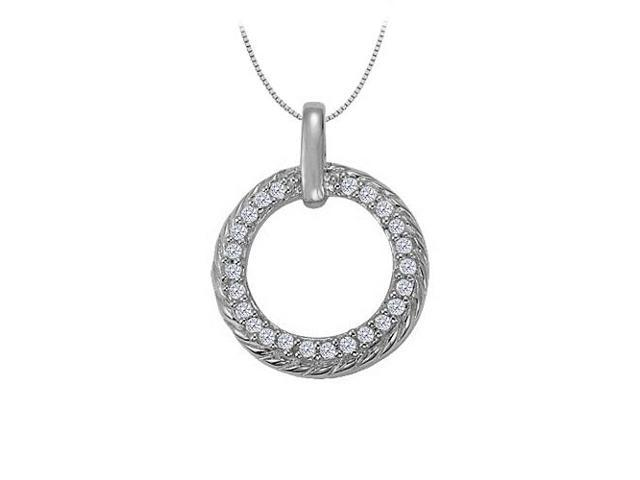 Cubic Zirconia Fancy Circle Fashion Pendant in 14K White Gold 0.25 CT TGWJewelry for Women