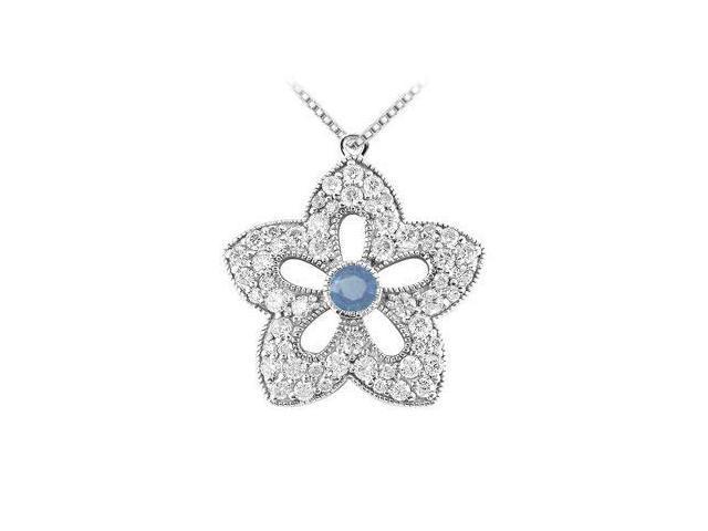 Sapphire and Diamond Flower Pendant  14K White Gold - 2.00 CT TGW