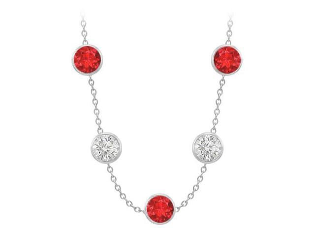 Diamonds By The Yard GF Bangkok Ruby and CZ Necklace on 14K White Gold Bezel Set 75.00 ct.tw
