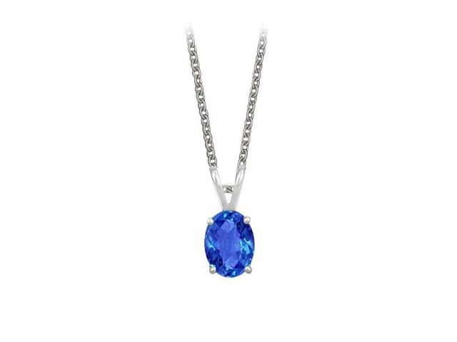 Oval Shaped Created Sapphire Pendant Necklace in Sterling Silver. 1ct.tw.