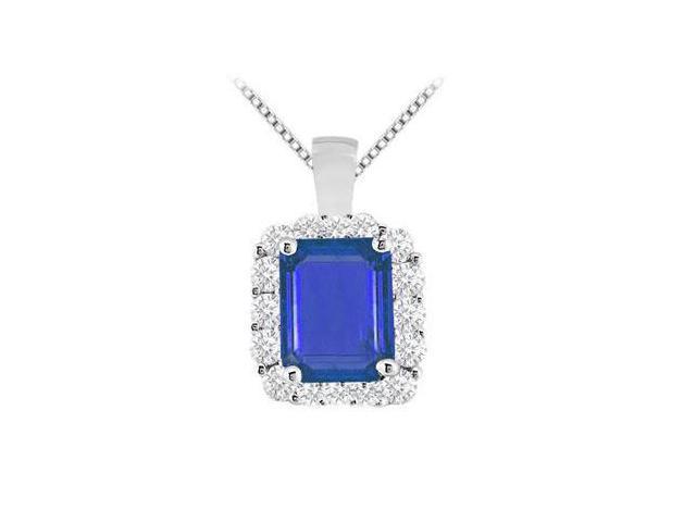 Brilliant Cut Round CZ and Diffuse Sapphire Emerald Cut Pendant in 14K White Gold 9.60 Carat TGW