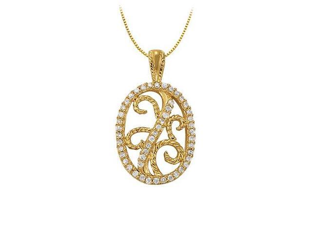 Cubic Zirconia Oval shaped Pendant in Yellow Gold Vermeil over Sterling Silver 0.25 CT TGW
