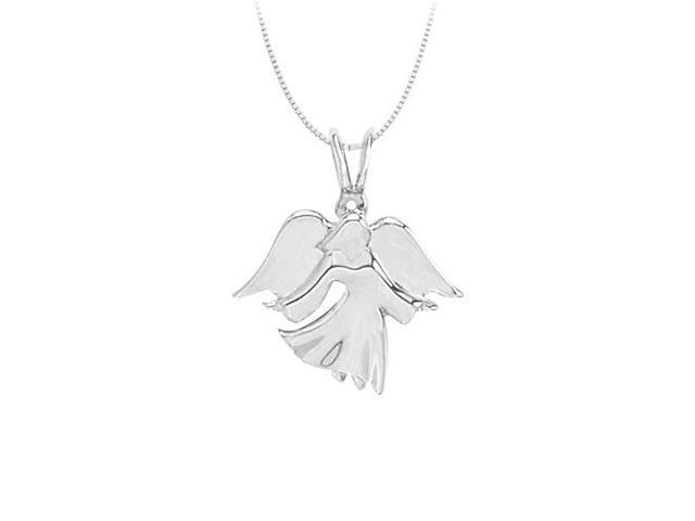 Angel Charm Pendant in 14K White Gold with Free White Gold Chain