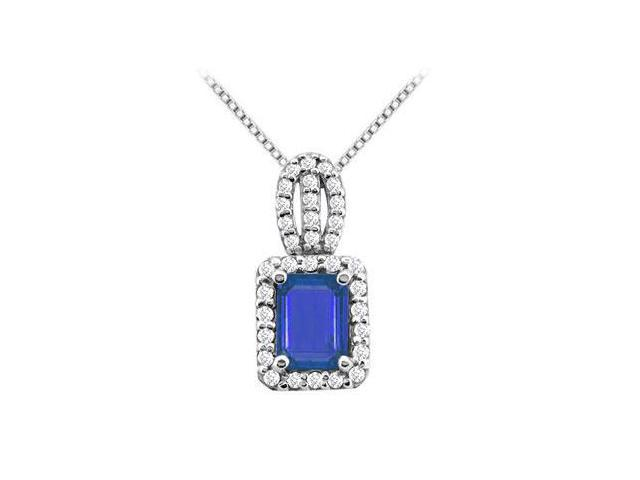 14K White Gold with Emerald Cut Diffuse Sapphire and Round CZ Pendant 5.00 Carat TGW