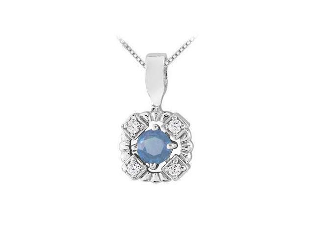 Sapphire and Diamond Pendant  14K White Gold - 0.50 CT TGW