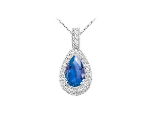 Pear Shape Diffuse Sapphire and Cubic Zirconia with 5.50 Carat TGW in n 14K White Gold Pendant