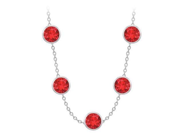 Diamonds By The Yard GF Bangkok Ruby Necklace on 14K White Gold Bezel Set 100.00 ct.tw
