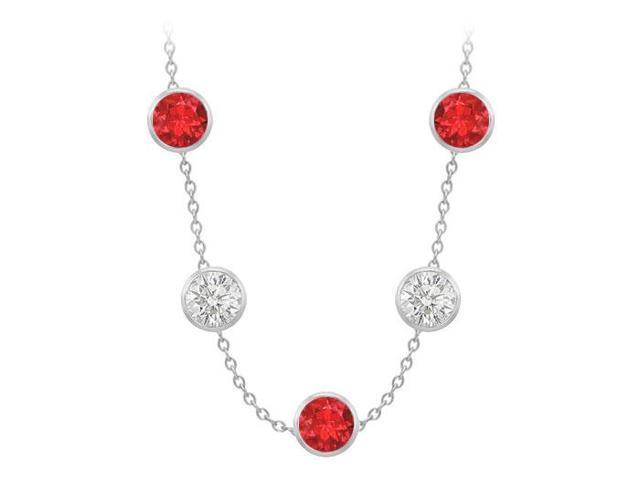 Diamonds By The Yard GF Bangkok Ruby and CZ Necklace on 14K White Gold Bezel Set 100.00 ct.tw