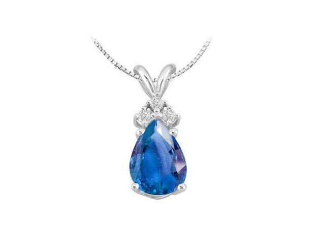 Diffuse Sapphire Pear Shape and Round Cubic Zirconia Pendant in 14K White Gold 2.81 Carat TGW