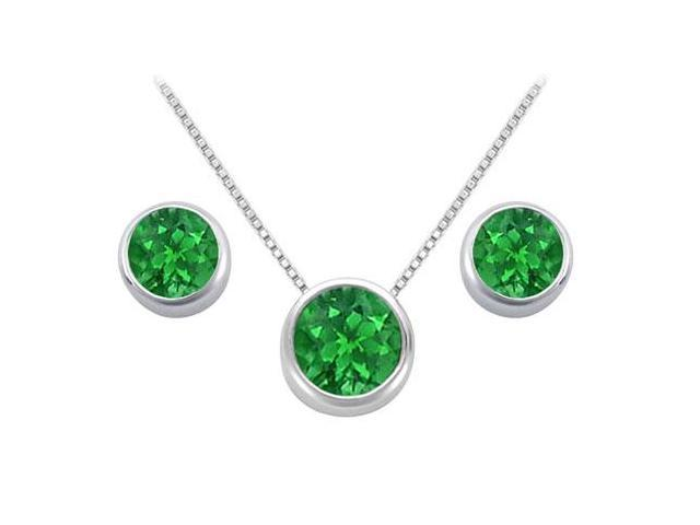 Created Emerald Solitaire Stud Earrings and Pendant in 14kt White Gold 3.00.ct.tgw