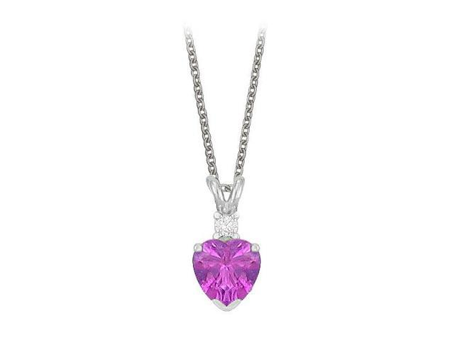 Heart Shaped Amethyst and Cubic Zirconia Pendant Necklace in Sterling Silver. 1.02ct.tw.