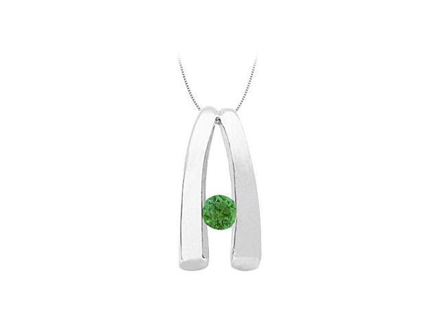 May Birthstone Emerald Pendant in 14kt White Gold 0.15 CT TGW