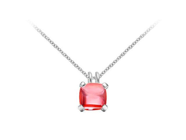 Red Chalcedony Pendant  14K White Gold - 5.00 CT TGW
