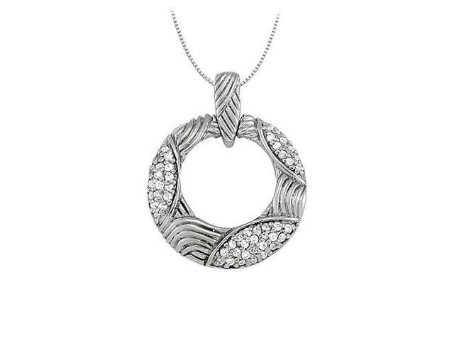 Diamond Fancy Circle Fashion Pendant in 14K White Gold 0.25 CT TDWJewelry Gift for Women