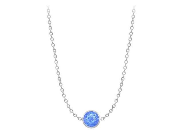 Diamond By The Yard Blue Diffuse Sapphire Necklace on 14K White Gold Bezel Set 1.00 ct.tw