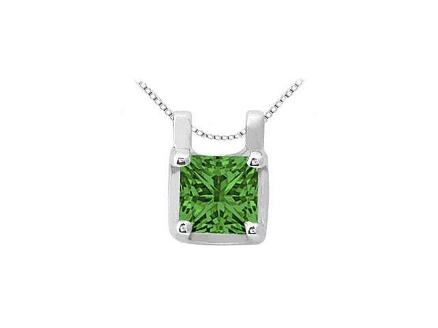May Birthstone Emerald Pendant in 14kt White Gold 0.15 CT TGW.