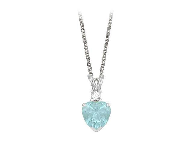 Heart Shaped Created Aquamarine and Cubic Zirconia Pendant Necklace in Sterling Silver.1.02ct.tw