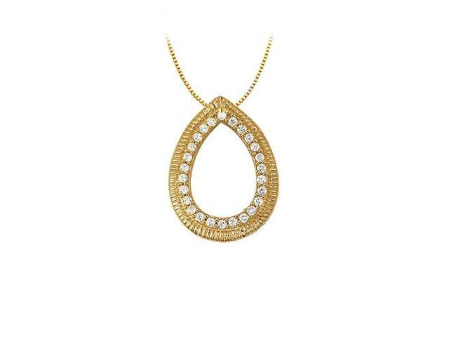 0.25 Carat Teardrop Gemstone Pendant with CZs in Yellow Gold Vermeil over Sterling Silver