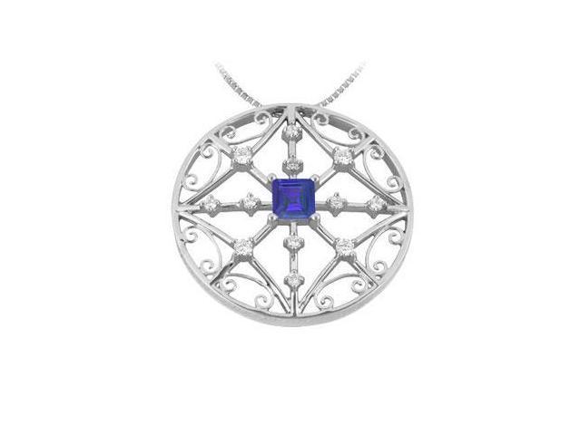 Sapphire and Diamond Pendant  14K White Gold - 1.75 CT TGW
