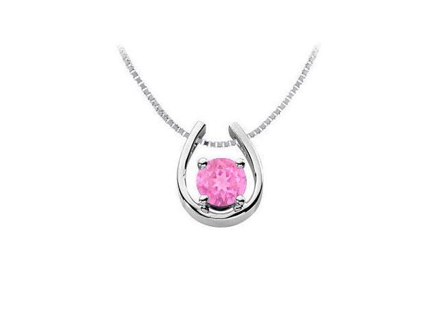 Created Pink Sapphire Horseshoe Pendant  14K White Gold - 1.00 CT TGW