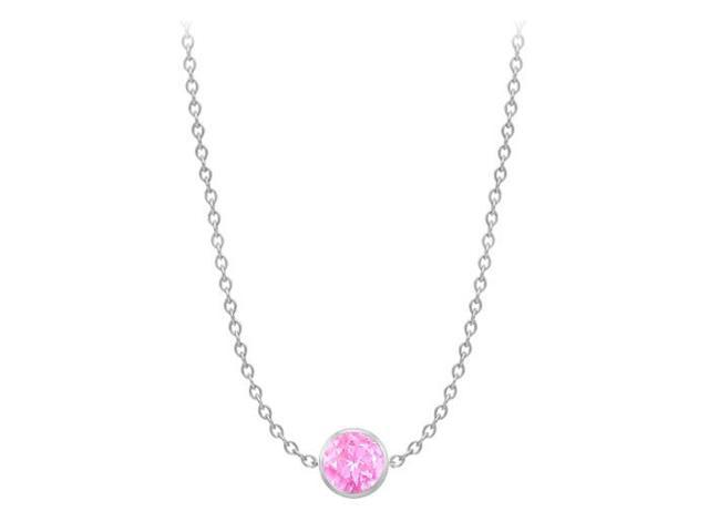 Diamond By The Yard Created Pink Sapphire Necklace on 14K White Gold Bezel Set 1.00 ct.tw