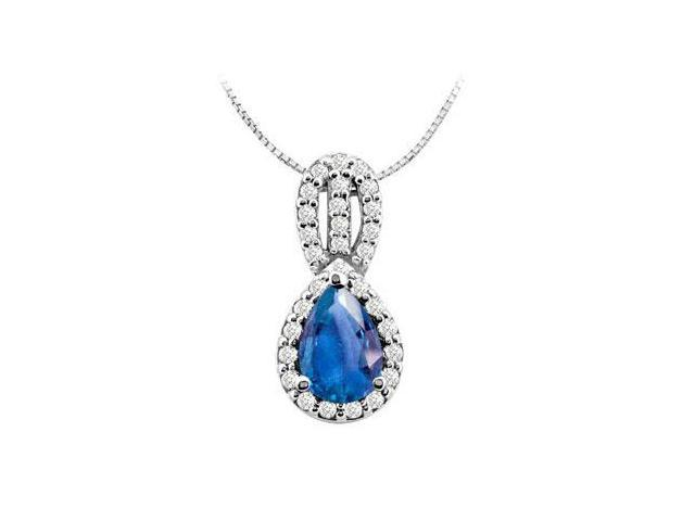 Design Pendant in 14K White gold with Diffuse Sapphire Pear Shape and Round Cubic Zirconia 3.25