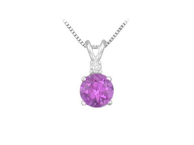 Sterling Silver Amethyst and Cubic Zirconia Solitaire Pendant 1.00 CT TGW