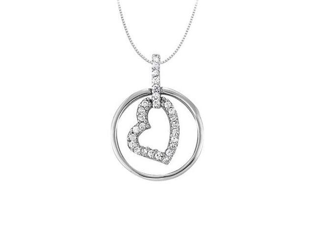 April birthstone Cubic Zirconia Heart Pendant in Sterling Silver 0.15 CT TGW Valentine Day Gift