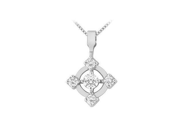 Diamond Circle Pendant  14K White Gold - 0.50 CT Diamonds