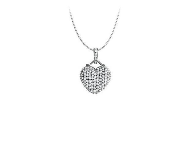 Cubic Zirconia Large Pave Heart Pendant Necklace in White Rhodium over Sterling Silver
