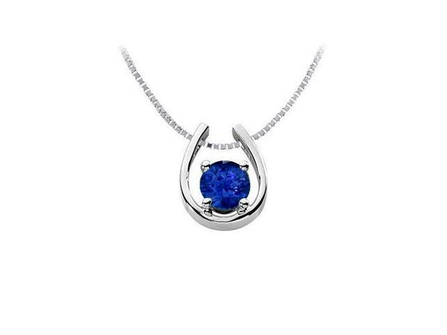 Diffuse Sapphire Horseshoe Pendant 14K White Gold 1.00 Carat Total Gem Weight