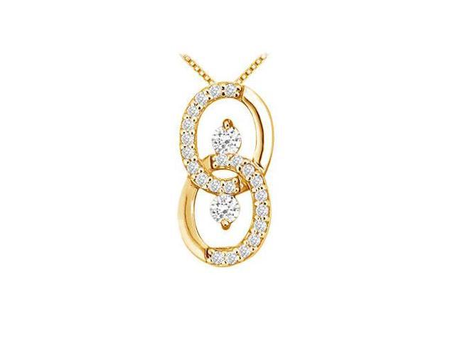 Diamond Circle Pendant  14K Yellow Gold - 0.25 CT Diamonds