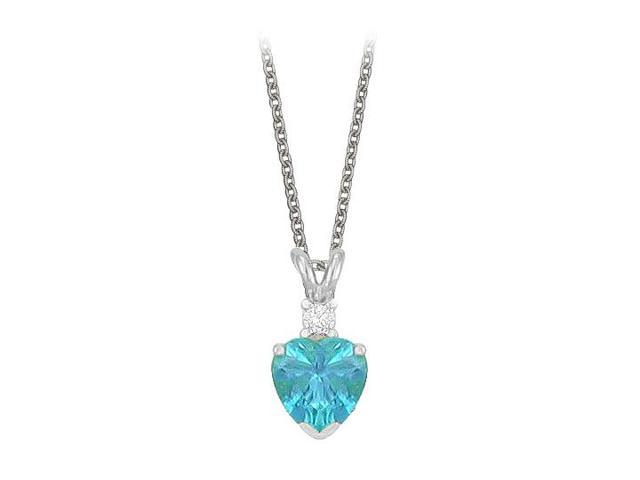 Heart Shaped Created Blue Topaz and Cubic Zirconia Pendant Necklace in Sterling Silver.1.02ct.tw