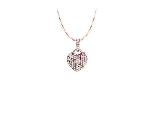 Cubic Zirconia Small Pave Heart Pendant Necklace in 14kt Rose Gold over Sterling Silver