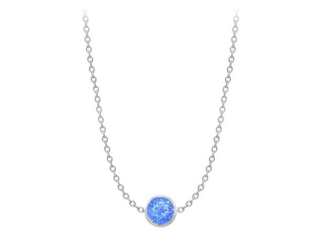 Diamond By The Yard Blue Diffuse Sapphire Necklace on 14K White Gold Bezel Set 2.00 ct.tw