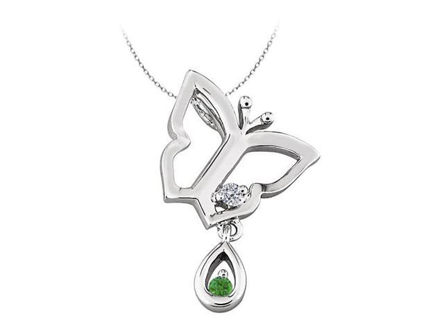 Butterfly Pendant Necklace with Emerald and Diamond in 14kt White Gold  0.05 CT TGW