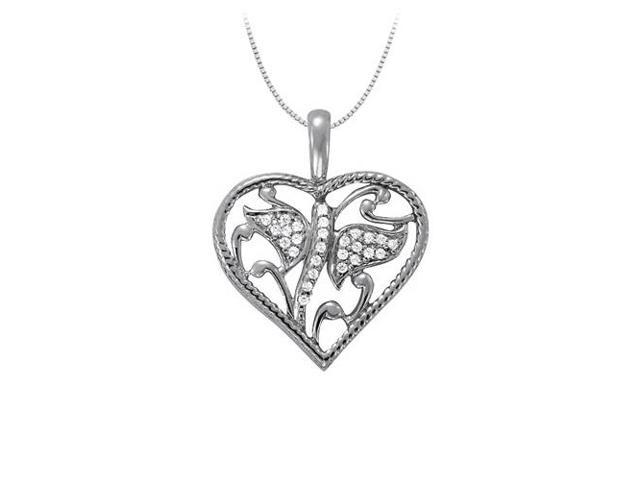 April birthstone Cubic Zirconia Heart Pendant in Sterling Silver 0.15 CT TGWValentine Day Gift